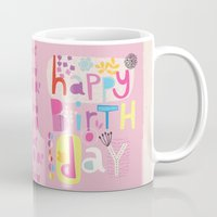 happy birthday Mugs featuring Happy Birthday by Victoria Johnson Design