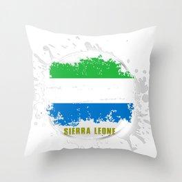 sierra leone Flag with a Splash Throw Pillow