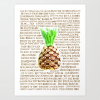 pinapple Art Prints featuring Must Love Psych! T.V. (TV), Show, Burton Guster, Pinapple Fanatic  by Canis Picta