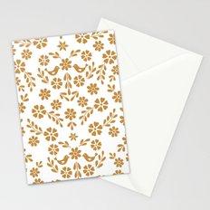 Golden floral symmetric birds heart Stationery Cards