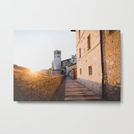 Sunset over Assisi Metal Print