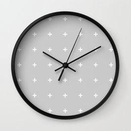 PLUS ((white on calm gray)) Wall Clock