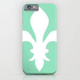 Fleur de Lis (White & Mint) iPhone Case