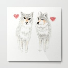WOLVES IN LOVE / WOLF VALENTINE / WOLF PACK / WOLF LOVE Metal Print