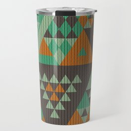 triangles-green-brown-orange-KNIT Travel Mug