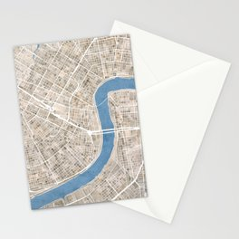 New Orleans Cobblestone Watercolor Map Stationery Cards
