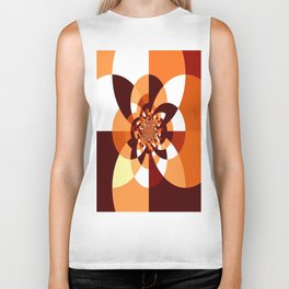 Orange Brown Cream Kaleidoscope Biker Tank