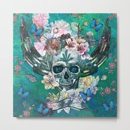 Abstract Teal Grunge Angel Wing Skull with Butteflies  Metal Print