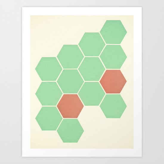 Mint Honeycomb Art Print