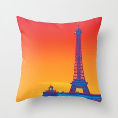 Psychedelic Eiffel Tower Throw Pillow