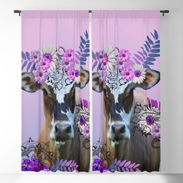 Cow Flower Artwork - Monstera Daisies Blossoms Leaves Blackout Curtain