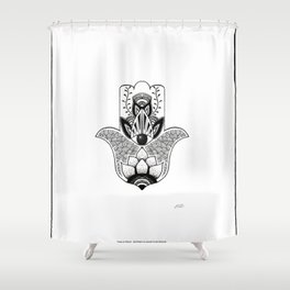 """""""The Hand of Fatima"""",""""Hand of Miriam"""" with Eye of Horus, an ancient strong Symbol for Protection and Shower Curtain"""