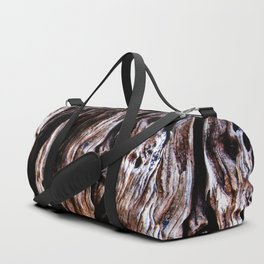 Ancient olive tree wood close-up Duffle Bag
