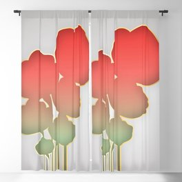 Red and Gold Poppies Blackout Curtain