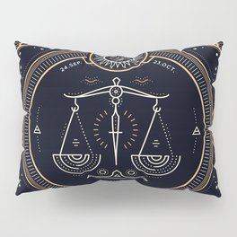 Libra Zodiac Golden White on Black Background Pillow Sham
