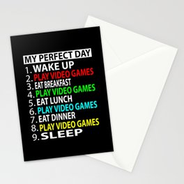 My Perfect Day  , Play video games  Funny  Gift Stationery Cards