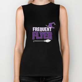 Funny Witch Gift Frequent Flyer Biker Tank