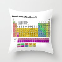 periodic table Throw Pillows featuring Periodic Table of the Elements by Fabian Bross