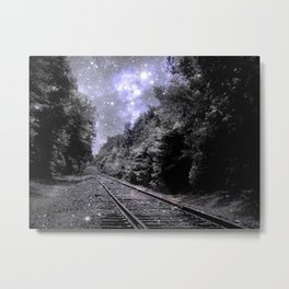 Train Tracks Next Stop Anywhere Periwinkle Gray Metal Print