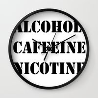 alcohol Wall Clocks featuring Alcohol Caffeine Nicotine  by mzscreations