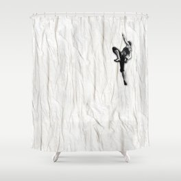 Woman Climbing a Wrinkle Shower Curtain