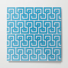 Greek Key - Turquoise Metal Print