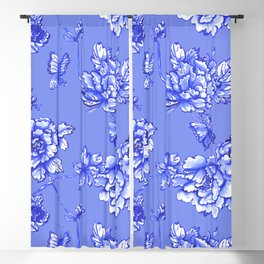 Chinoiserie Floral Blue Blackout Curtain