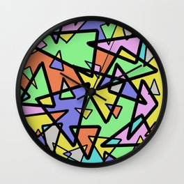 Triangulation - Geometric, pastel coloured abstract design, green, red, yellow, pink, blue Wall Clock