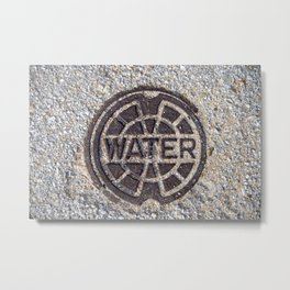 Water meter lid close up in color rustic round symbol #decor Metal Print