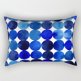 Blue Circles in Watercolor Rectangular Pillow