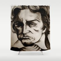 beethoven Shower Curtains featuring Ludwig van Beethoven by Lord Marshall