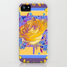 YELLOW BUTTERFLIES ART ROSE FLOWERS PUCE iPhone Case