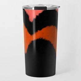 Geometrical black living coral orange brushstrokes Travel Mug