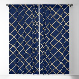 Elegant  abstract geometrical navy blue gold pattern Blackout Curtain