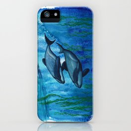 """""""Maui's Magic"""" by Amber Marine ~ (Maui's Dolphins) Watercolor Painting, (Copyright 2016) iPhone Case"""