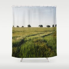 Barley field with trees on the horizon. Norfolk, UK. Shower Curtain