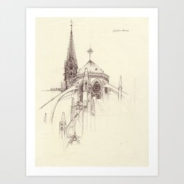 Notre Dame Cathedral Sketch Art Print