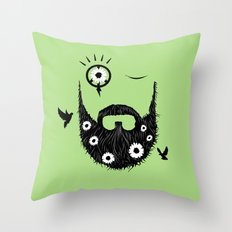 Make Beards Not War! Throw Pillow
