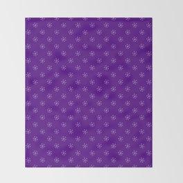 Lavender Violet on Indigo Violet Snowflakes Throw Blanket