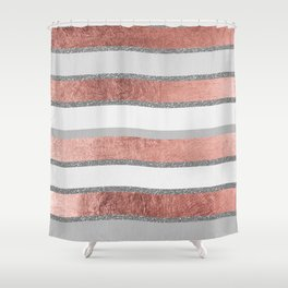 Gray faux silver rose gold geometrical wave stripes Shower Curtain