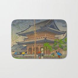 Rain in Higashi-Honganji Temple, Kyoto Asano Takeji Japanese Woodblock Print Bath Mat