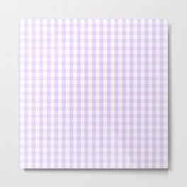 Chalky Pale Lilac Pastel and White Gingham Check Plaid Metal Print