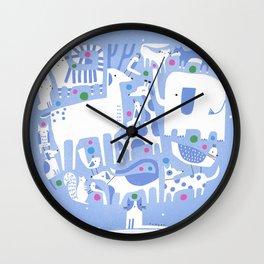 ANIMAL HOLIDAY TREE Wall Clock