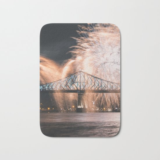 Fireworks bridge Bath Mat