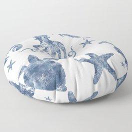 Delft Blue nautical Marine Life pattern, coastal beach Floor Pillow
