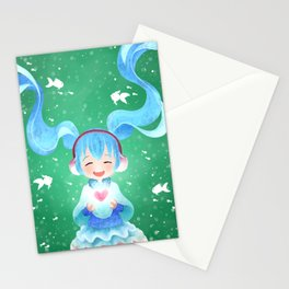 Smile and Hearts Twintail Girl Stationery Cards