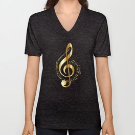 Treble clef surrounded by melody Unisex V-Neck