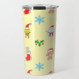 Teddy, mouse elf and snowman Christmas pattern Travel Mug