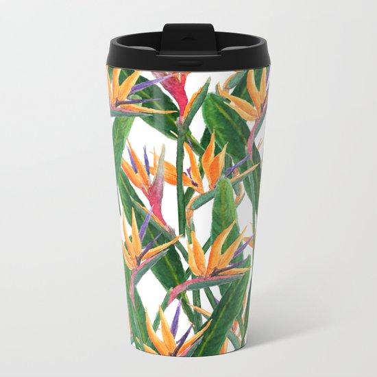 bird of paradise pattern Metal Travel Mug