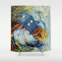 fandom Shower Curtains featuring Tardis doctor who jump into time Vortex by Three Second